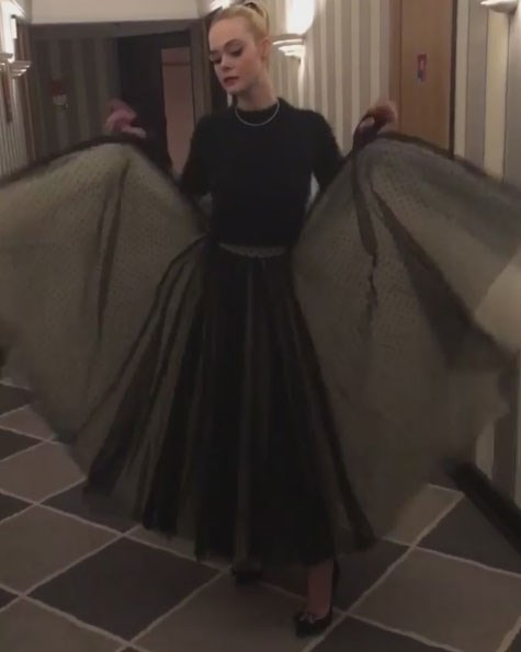 "Elle Fanning said of her dress, ""The Grace Kelly bat comes out at night.""  *Image: [@ellefanning](https://www.instagram.com/p/BUNjxMxlx2a/)*"