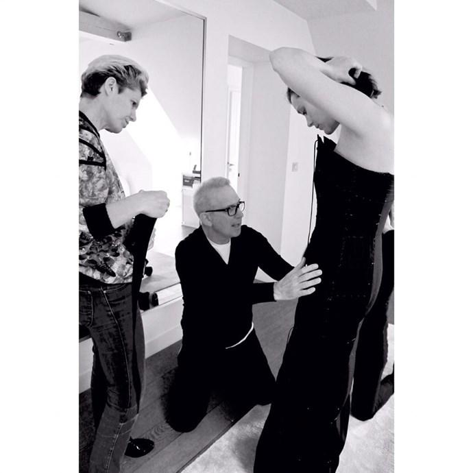 Marion Cotillard got dressed for her red carpet appearance.  *Image: [@eliottbliss](https://www.instagram.com/p/BUNgksGlR6V/)*