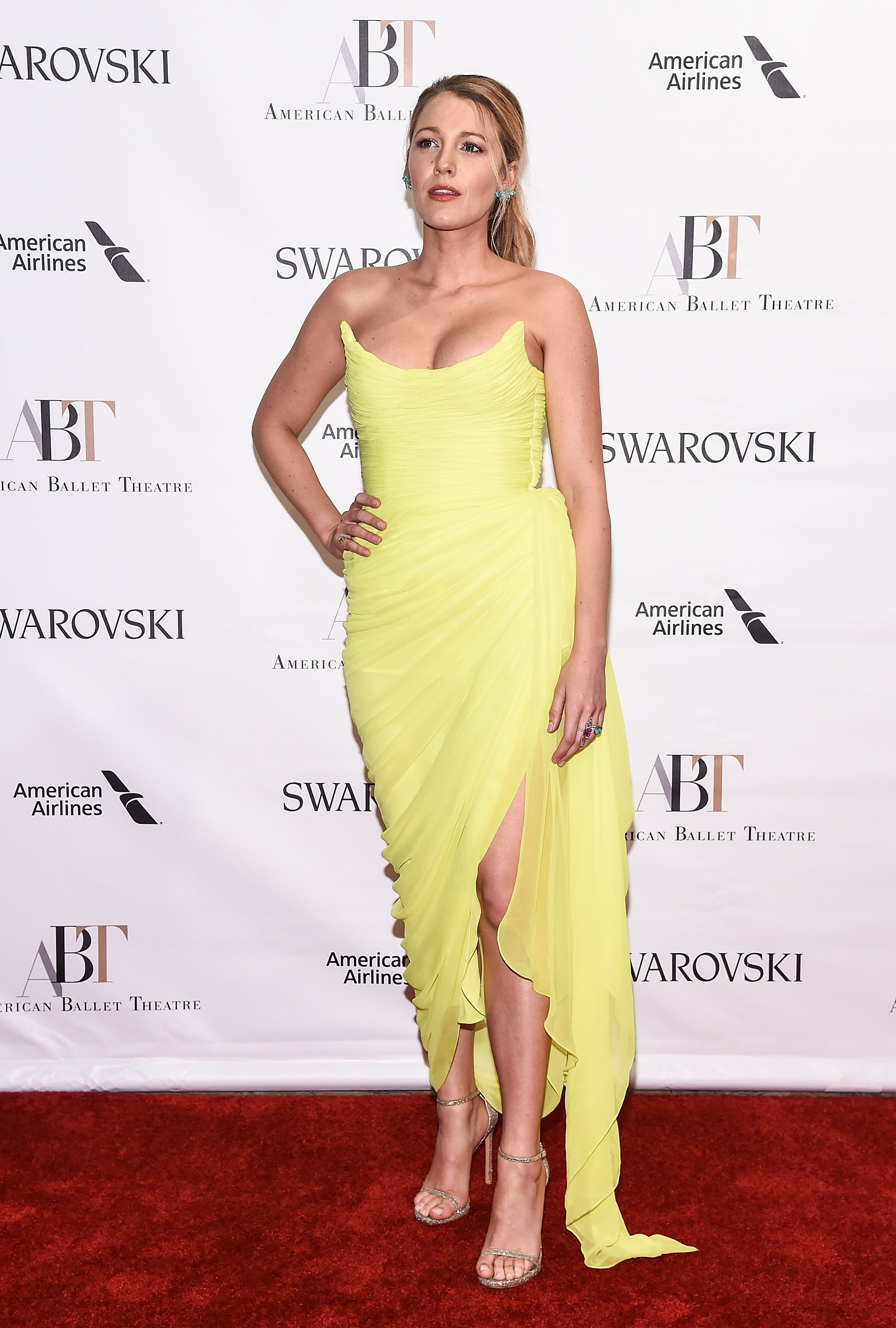 Blake wore this neon yellow corseted dress by Oscar de la Renta to the American Ballet Theatre Spring 2017 Gala.