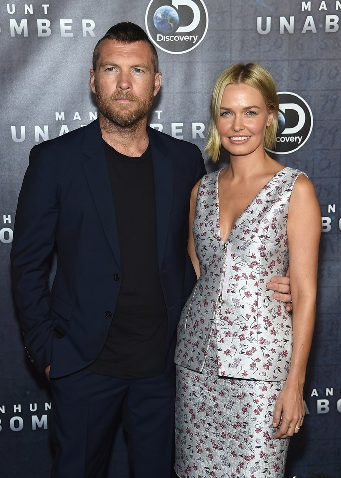 The couple have just stepped out in New York for the premier of *Manhunt: Unabomber*. Sam plays the role of of FBI Agent and Criminal Profiler Jim Fitzgerald, in the film.