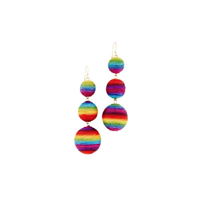 Rainbow earrings, $111, [Kenneth Jay Lane at shopbop.com](https://www.shopbop.com/triple-tier-drop-earrings-kenneth/vp/v=1/1527426729.htm?fm=search-viewall-shopbysize&os=false).