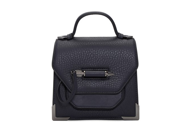 Bag, $470, Mackage at [Ssense](https://www.ssense.com/en-au/women/product/mackage/navy-rubie-satchel/2216787) <br><Br> **Compartments:** Two, plus a patch pocket and two card slots.