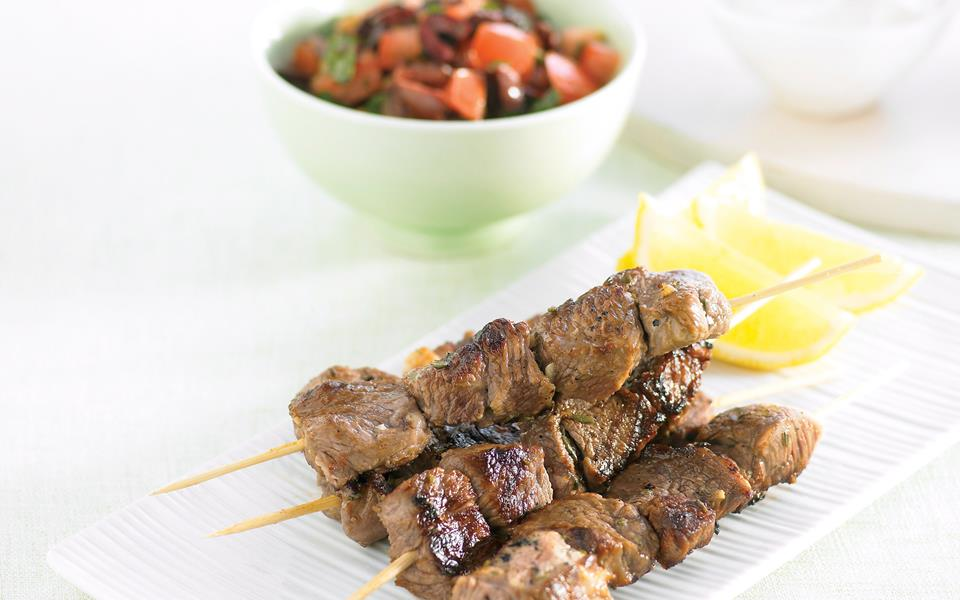 Greek Lamb Kabobs With Yogurt-Mint Salsa Verde Recipe ...
