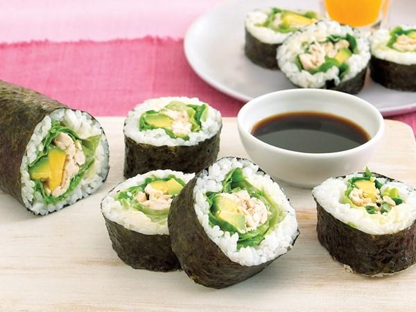 Chicken and avocado rolls