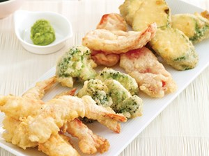 Tempura vegetables and prawns