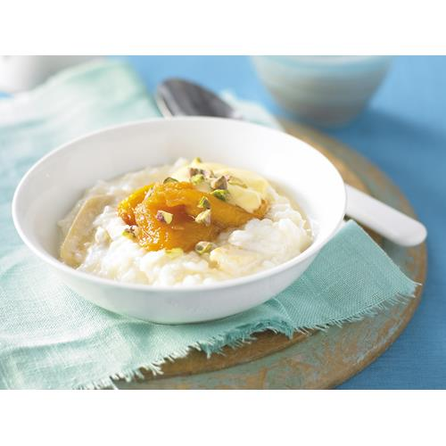 Ginger rice pudding with peach compote recipe   Food To Love