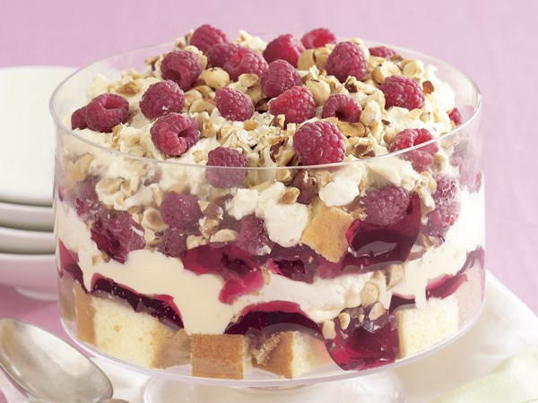 Raspberry and hazelnut trifle