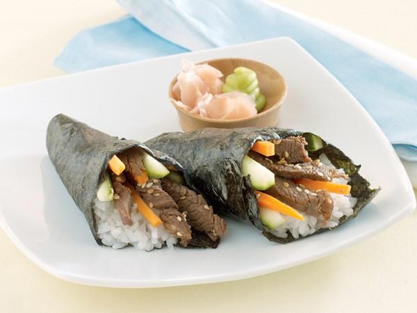 Teriyaki beef sushi cones