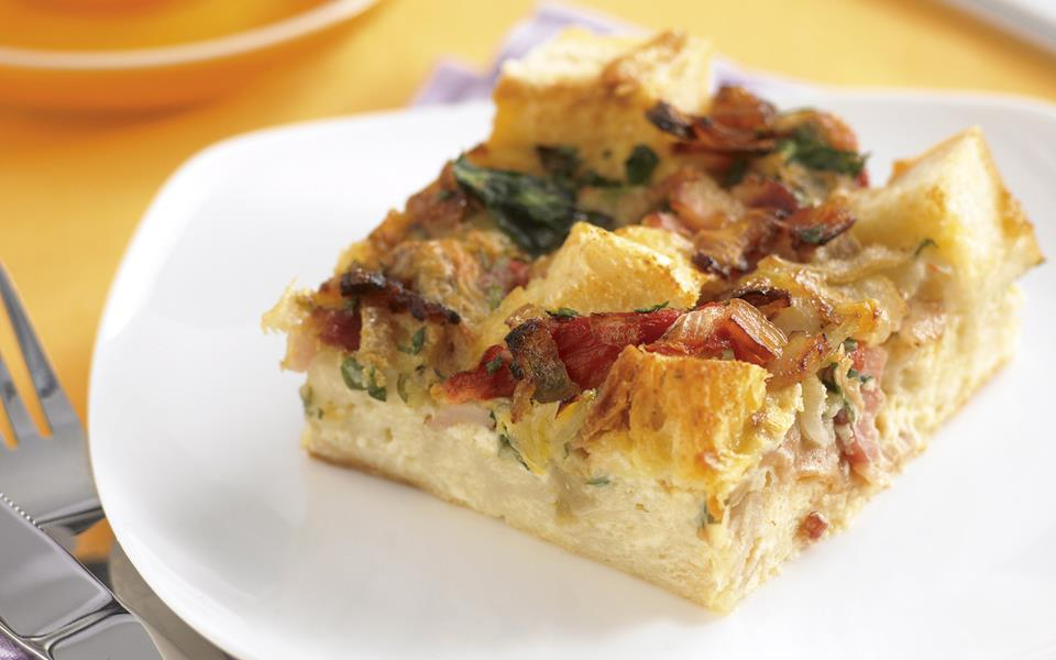 Bacon and capsicum bread pudding recipe | FOOD TO LOVE