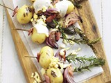 Potato and bacon rosemary skewers