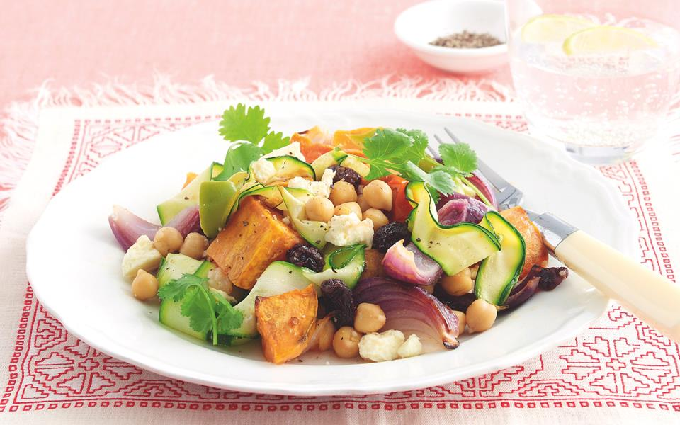 Cumin roast vegetable and chickpea salad recipe | FOOD TO LOVE