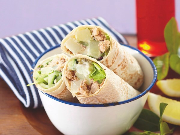 Salmon and potato salad wraps