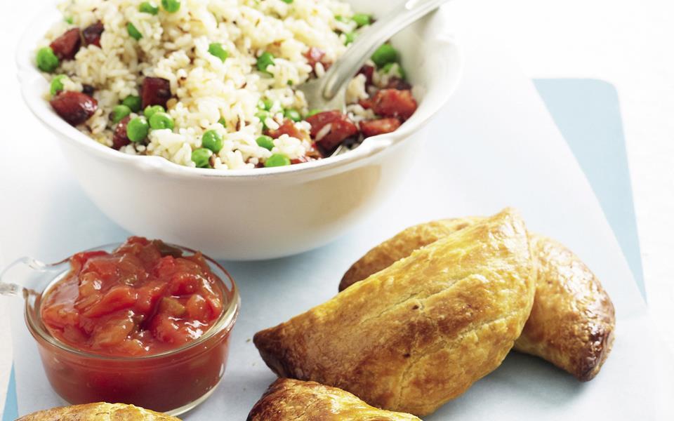 Beef empanadas with chorizo rice recipe | FOOD TO LOVE