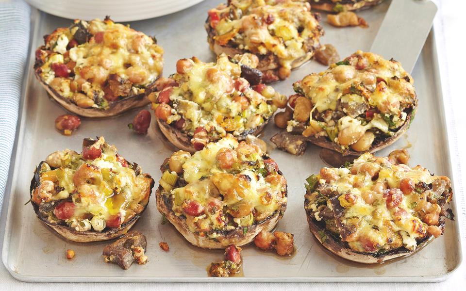 Feta and bean stuffed mushrooms recipe | FOOD TO LOVE