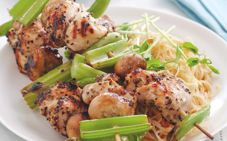 Salt and pepper chicken skewers with noodle salad recipe | FOOD TO ...