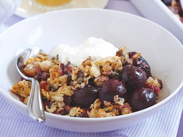 Plum and honey muesli crumble