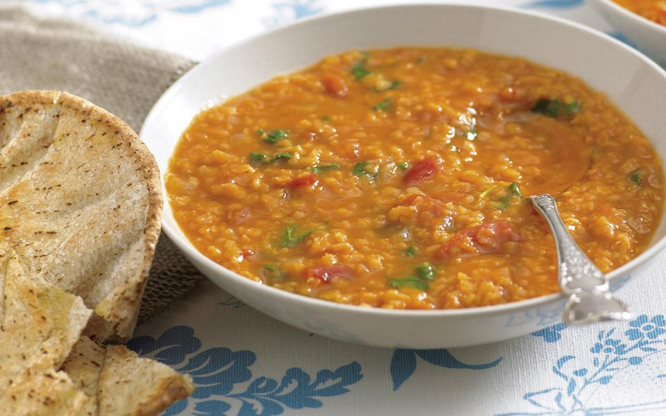 Spicy tomato and red lentil soup recipe | FOOD TO LOVE