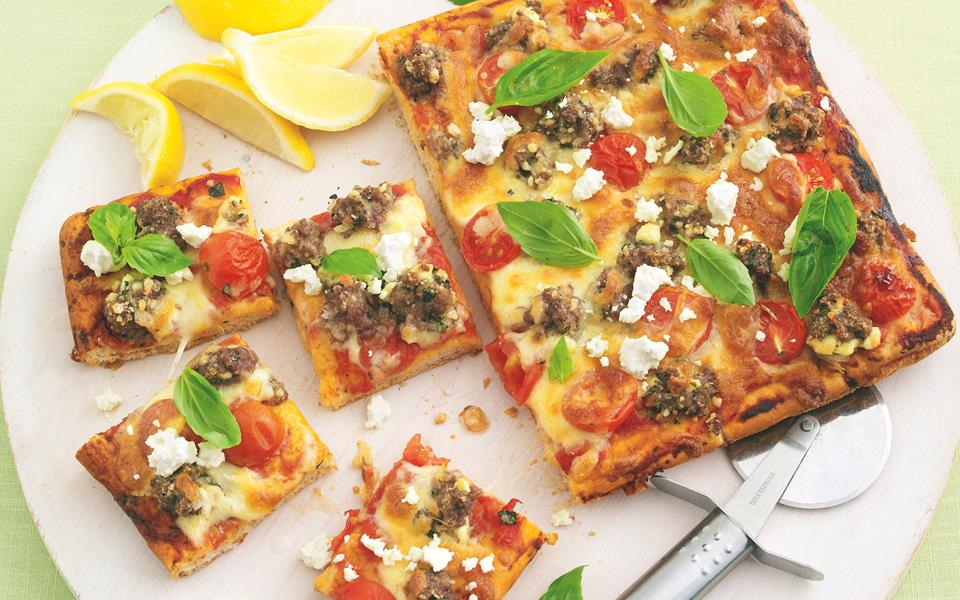 Lamb, feta and basil pizza recipe | FOOD TO LOVE