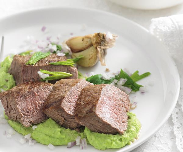 roast lamb with broad bean puree recipe food to love