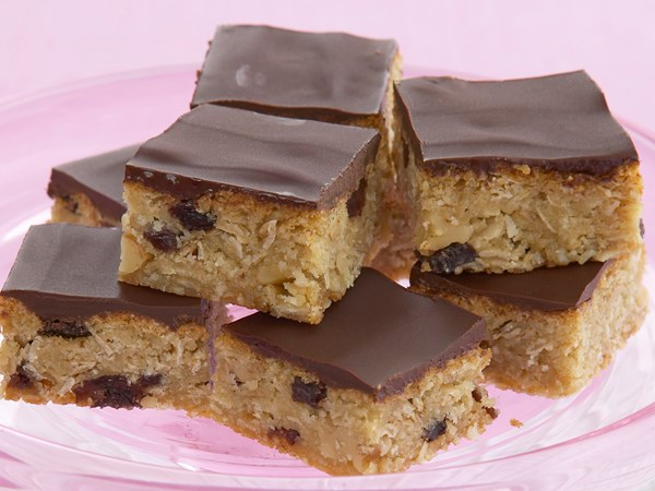 Chocolate and raisin Anzac slices