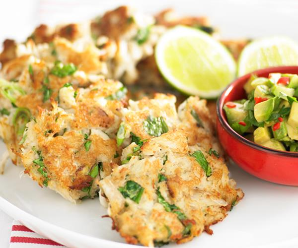 Crab cakes with avocado salsa recipe   Food To Love