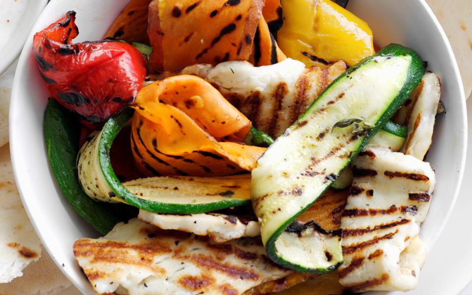 Grilled vegetable and haloumi wraps recipe | FOOD TO LOVE