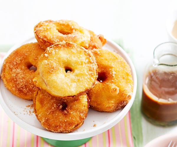 Apple fritters with choc-caramel sauce recipe | Food To Love