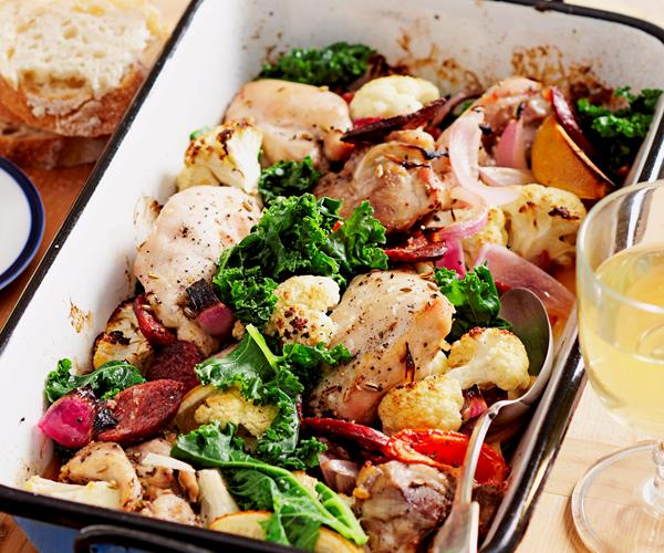 Chicken and kale tray bake recipe | Food To Love