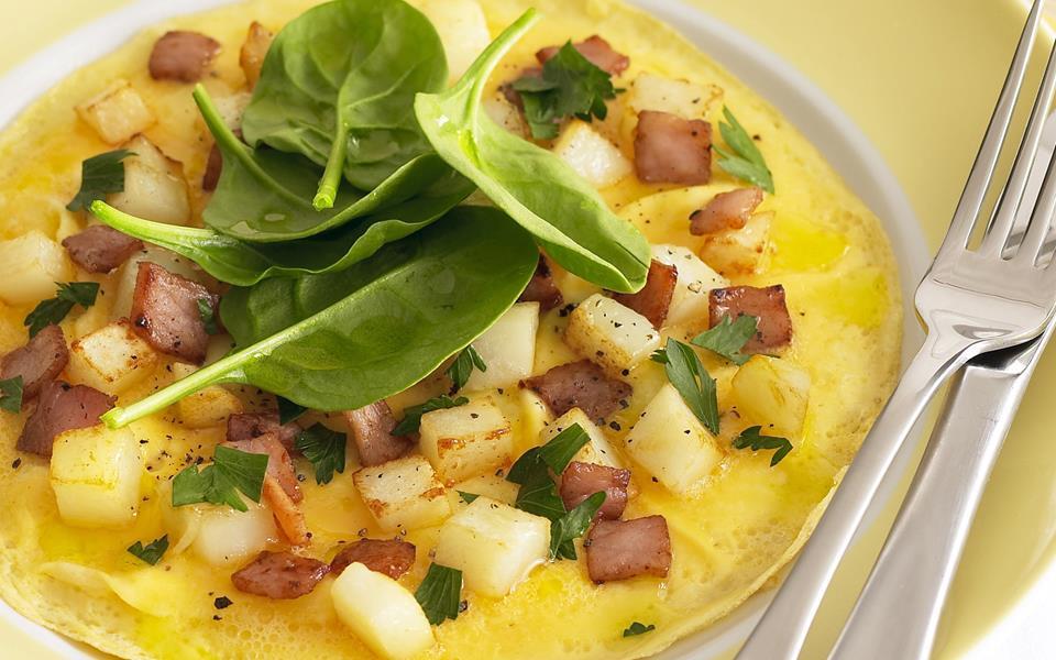 Bacon-Cheddar Omelettes Recipe — Dishmaps