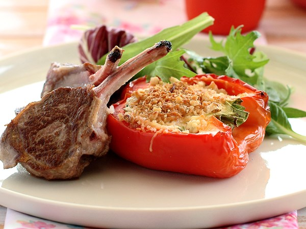 Lamb with capsicum walnut gratin