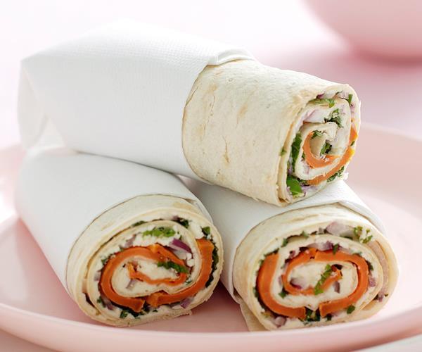 Kumara, feta and mint wrap recipe | Food To Love