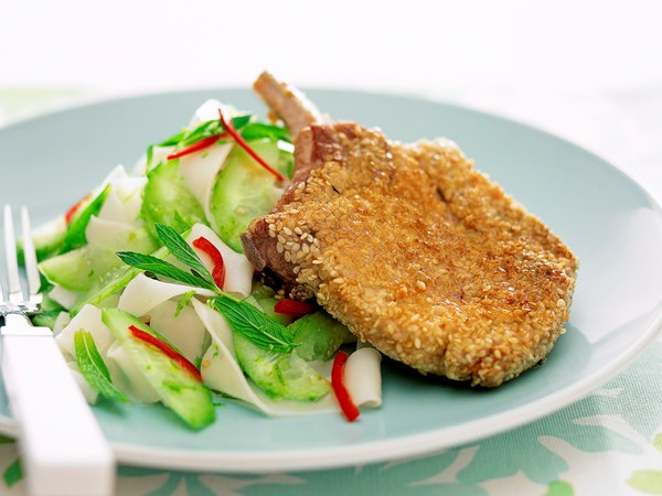 Sesame Pork with Rice Noodle Salad
