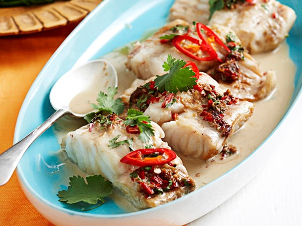 Thai-style fish with coconut sauce