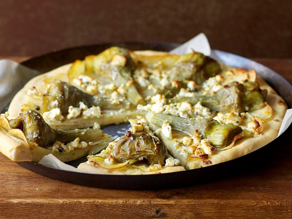 Artichoke, potato and feta pizza