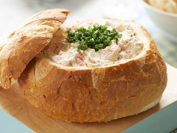"Recipe: [Tomato and onion cob loaf](http://www.foodtolove.com.au/recipes/cobb-dip-6939 target=""_blank"")"