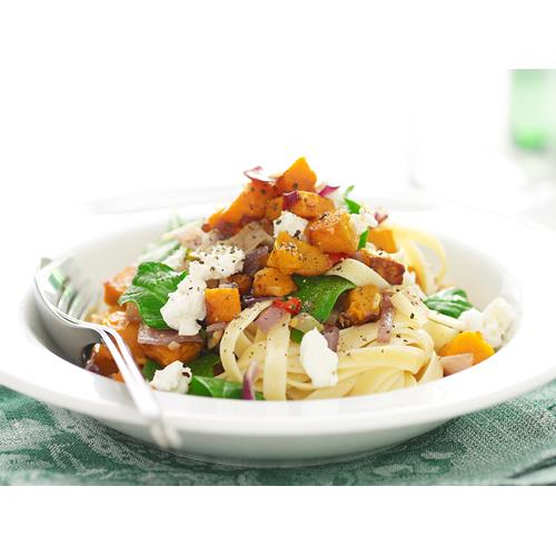 Pasta with pumpkin, spinach and goat's cheese recipe | Food To Love