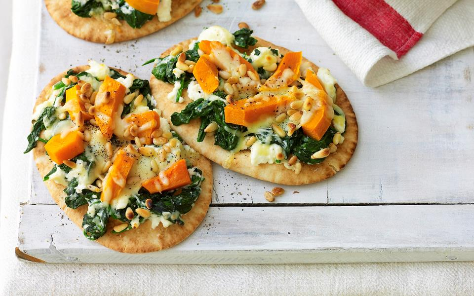 Pumpkin, spinach and ricotta pizza recipe | FOOD TO LOVE