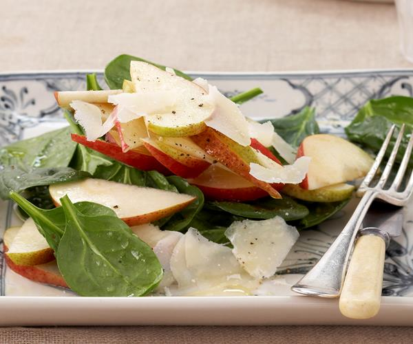Spinach, Pear, And Shaved Parmesan Salad Recipe — Dishmaps