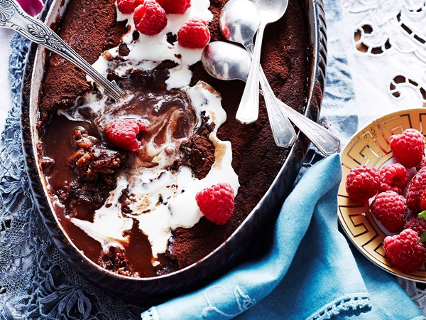 Mocha self-saucing pudding