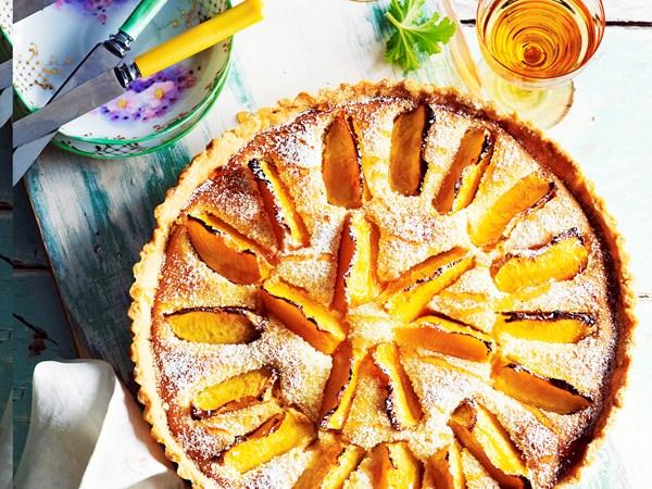 Peach and rose frangipane tart