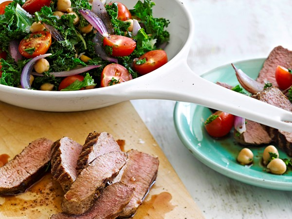 Peppered lamb with kale and chickpeas