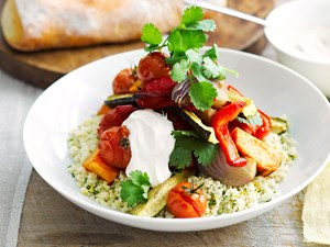 Roasted vegetables with couscous and spiced yoghurt