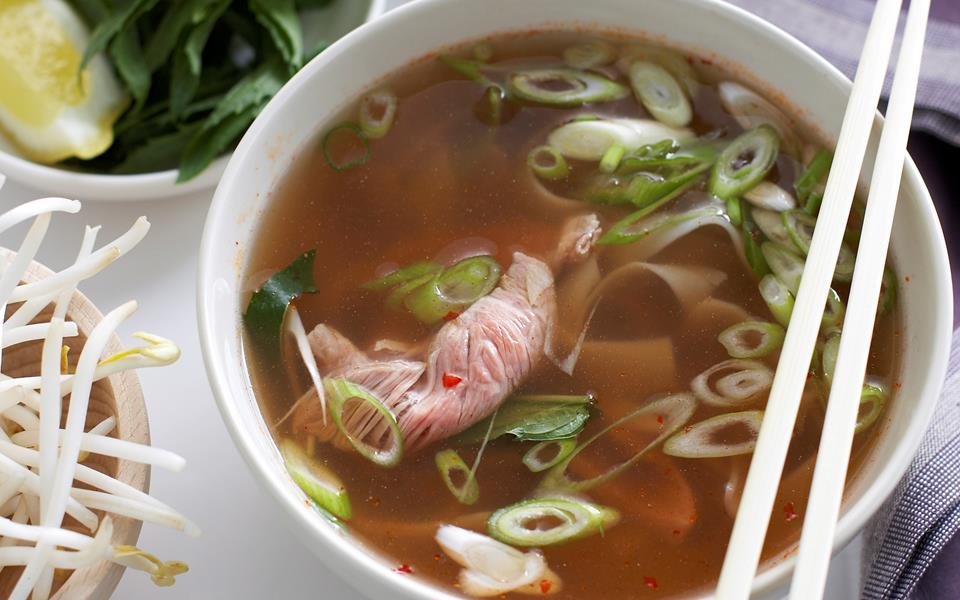 Asian beef and rice noodle soup recipe   FOOD TO LOVE