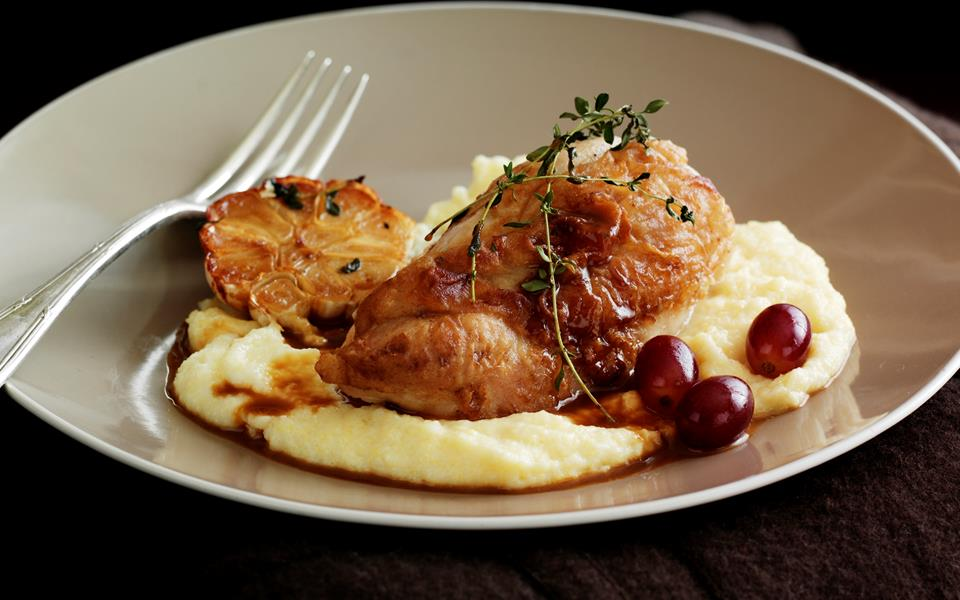 Chicken with brandy and grapes on soft polenta recipe | FOOD TO LOVE