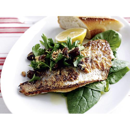 Pan-fried fish with lemon and spinach salad recipe | Food ...