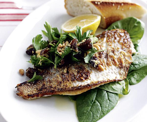 Pan fried fish with lemon and spinach salad recipe food for Fish and salad