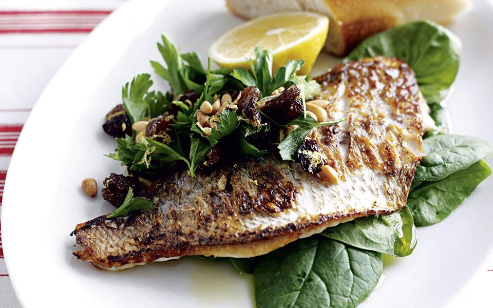 Pan-fried fish with lemon and spinach salad recipe   FOOD TO LOVE