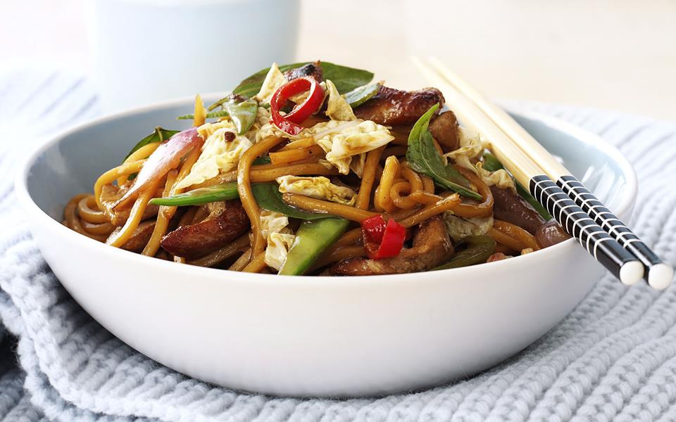 Pork, noodle and Thai basil stir-fry recipe | FOOD TO LOVE