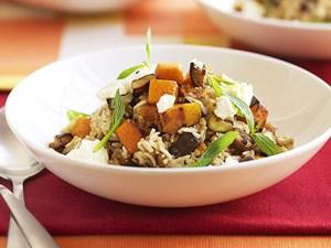 Pumpkin and lentil pilaf