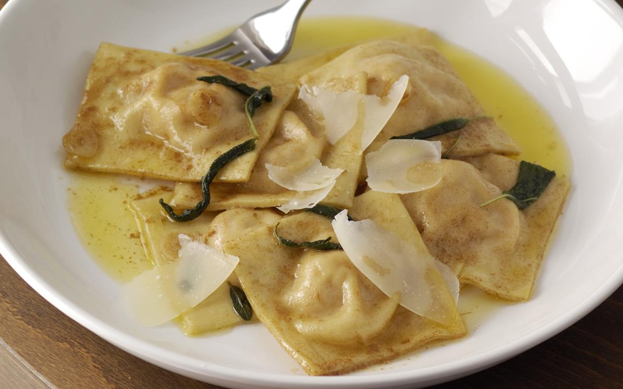 ... pumpkin ravioli with cheese and the earthy herb flavour of sage is